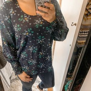 Ann Taylor Navy Blouse with Green Flowers